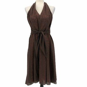 Maggy London Womens A Line Dress Brown Midi Sz 16